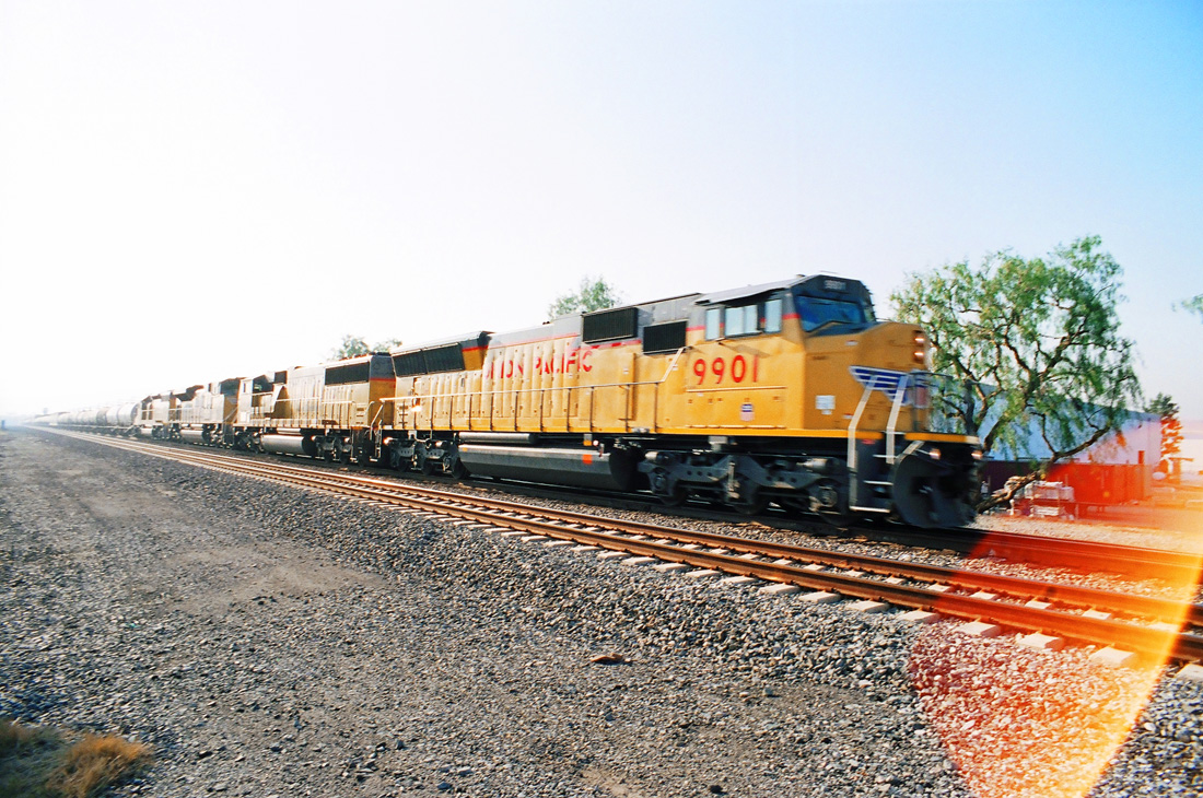 Union Pacific Diesel Engine, Yellow Train, Train Tracks
