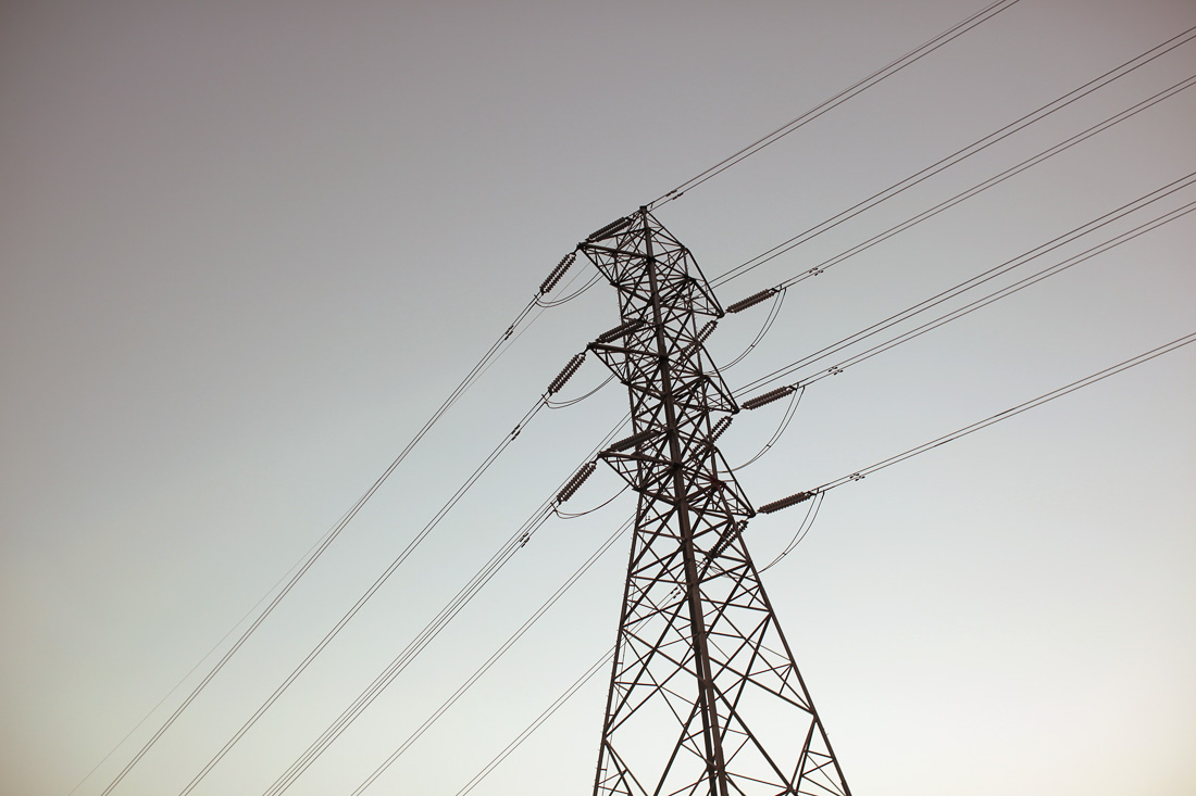 Silouhette of an electric tower